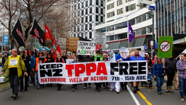 Anti TPP protest in New Zealand. Foto: Green Left Weekly