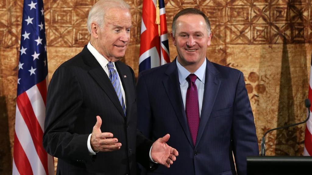 US Vice President Joe Biden and Prime Minister John Key (Getty)
